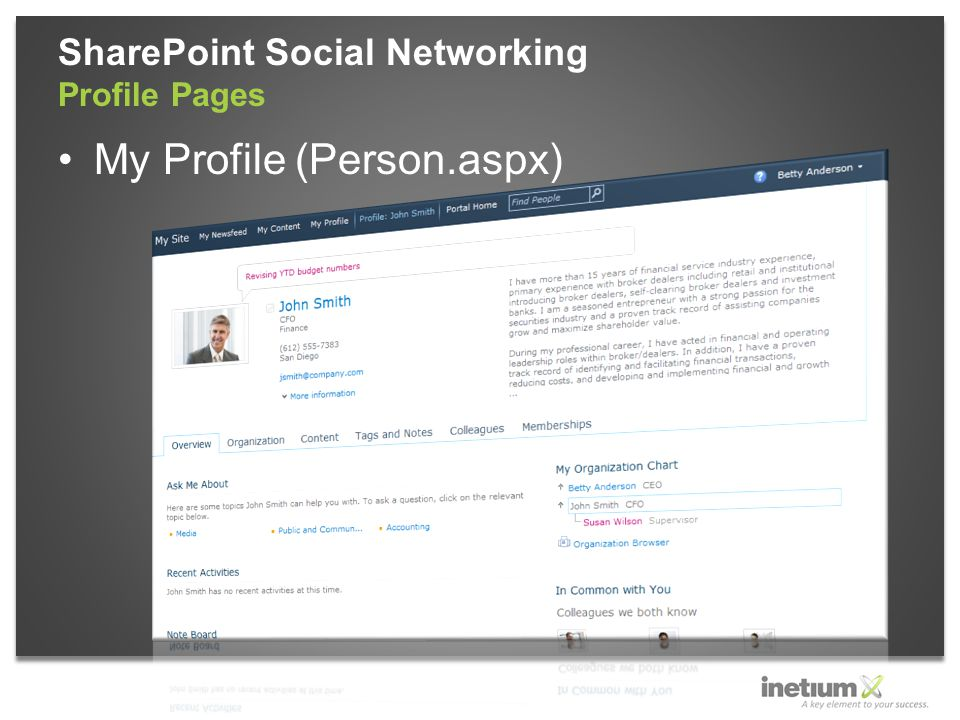 My Profile (Person.aspx) SharePoint Social Networking Profile Pages