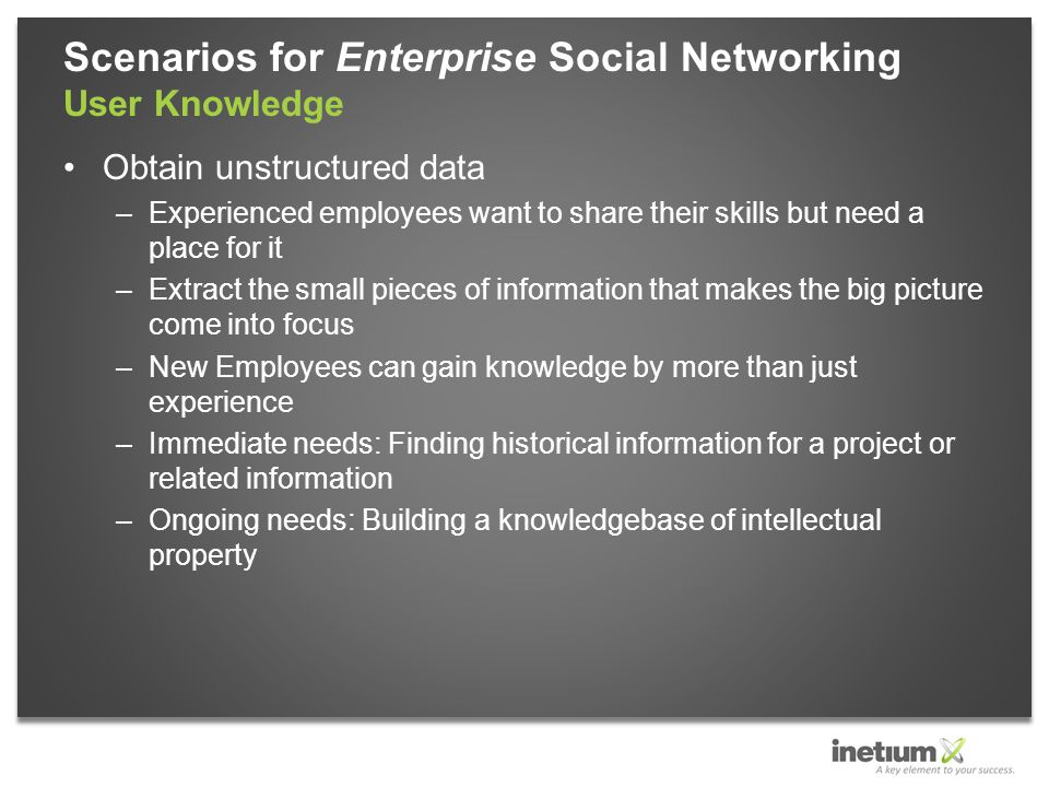 Obtain unstructured data –Experienced employees want to share their skills but need a place for it –Extract the small pieces of information that makes the big picture come into focus –New Employees can gain knowledge by more than just experience –Immediate needs: Finding historical information for a project or related information –Ongoing needs: Building a knowledgebase of intellectual property Scenarios for Enterprise Social Networking User Knowledge