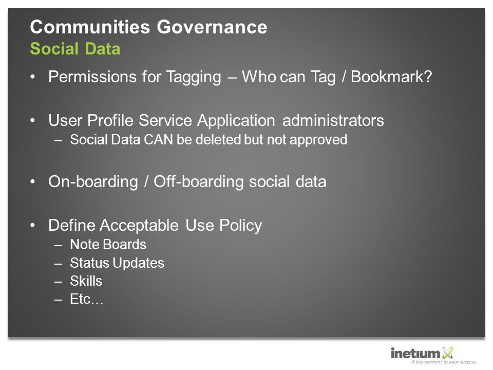 Permissions for Tagging – Who can Tag / Bookmark.