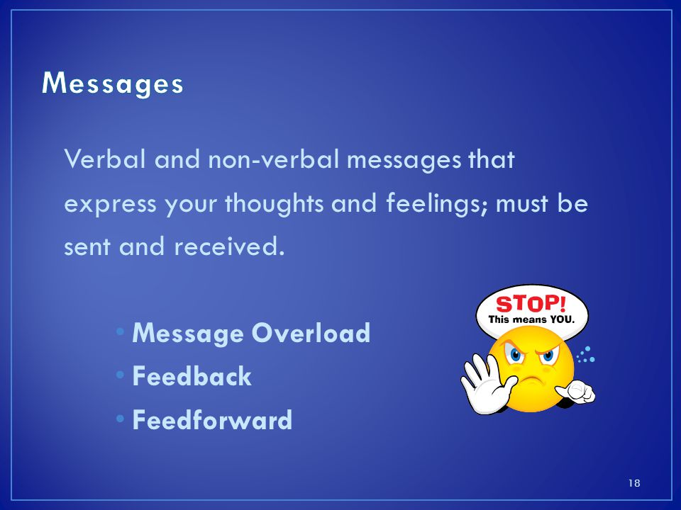 Verbal and non-verbal messages that express your thoughts and feelings; must be sent and received.