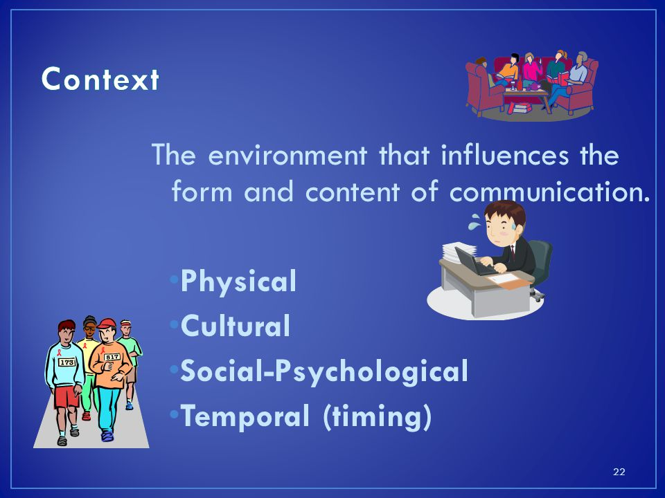 The environment that influences the form and content of communication.
