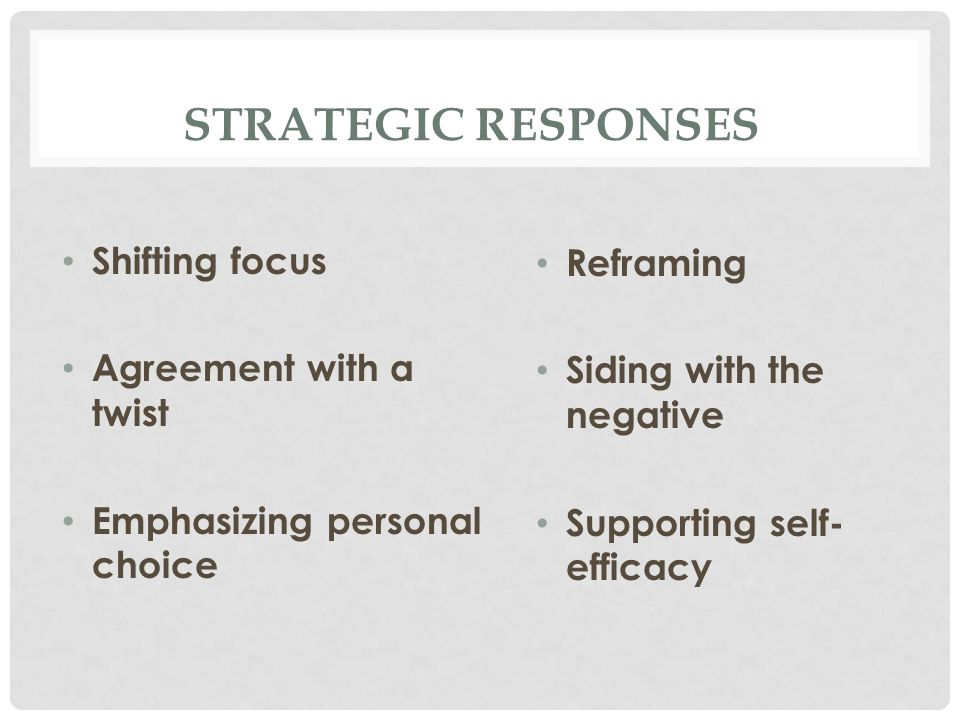 STRATEGIC RESPONSES Shifting focus Agreement with a twist Emphasizing personal choice Reframing Siding with the negative Supporting self- efficacy