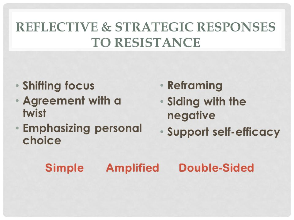 REFLECTIVE & STRATEGIC RESPONSES TO RESISTANCE Shifting focus Agreement with a twist Emphasizing personal choice Reframing Siding with the negative Support self-efficacy Simple Amplified Double-Sided