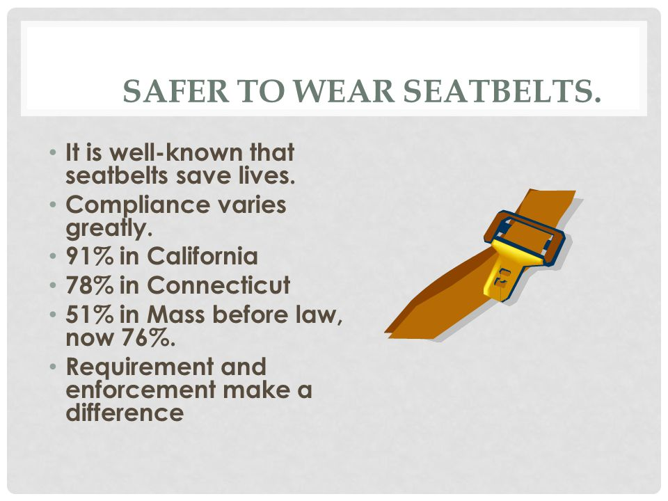 SAFER TO WEAR SEATBELTS. It is well-known that seatbelts save lives.
