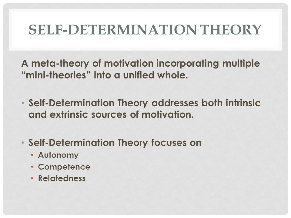 SELF-DETERMINATION THEORY A meta-theory of motivation incorporating multiple mini-theories into a unified whole.