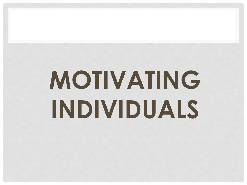 MOTIVATING INDIVIDUALS