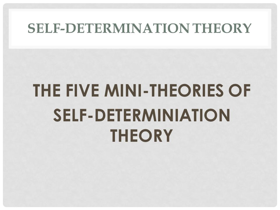 SELF-DETERMINATION THEORY THE FIVE MINI-THEORIES OF SELF-DETERMINIATION THEORY