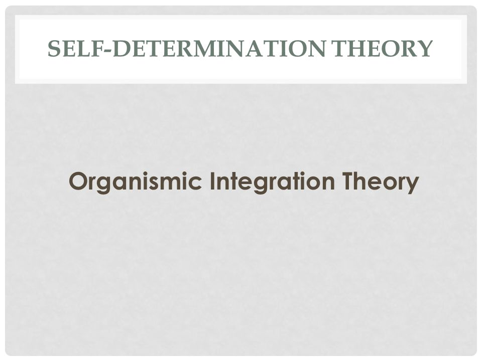 SELF-DETERMINATION THEORY Organismic Integration Theory
