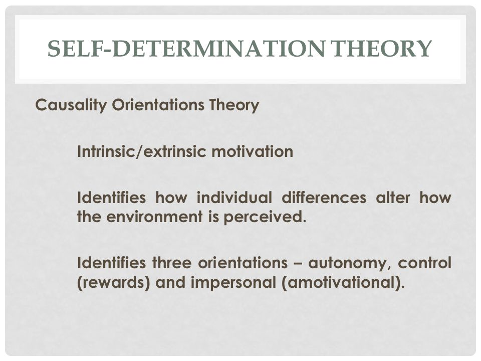 SELF-DETERMINATION THEORY Causality Orientations Theory Intrinsic/extrinsic motivation Identifies how individual differences alter how the environment is perceived.