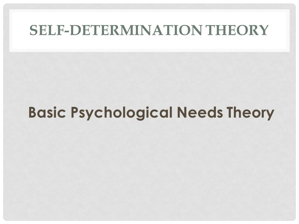 SELF-DETERMINATION THEORY Basic Psychological Needs Theory