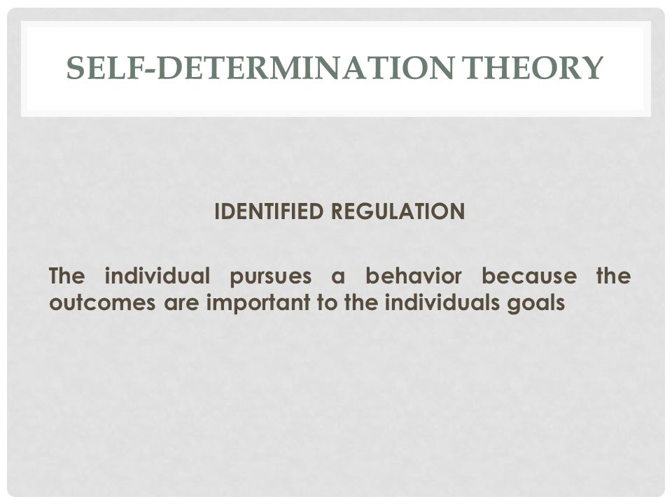 SELF-DETERMINATION THEORY IDENTIFIED REGULATION The individual pursues a behavior because the outcomes are important to the individuals goals