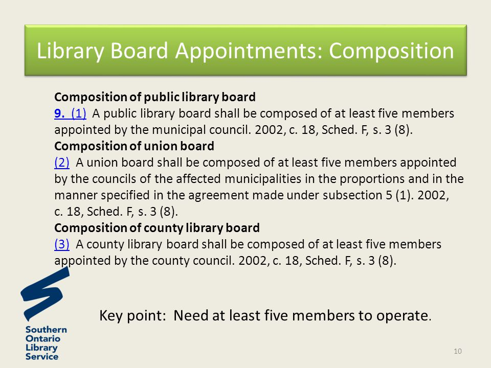 Composition of public library board 9. (1)9.