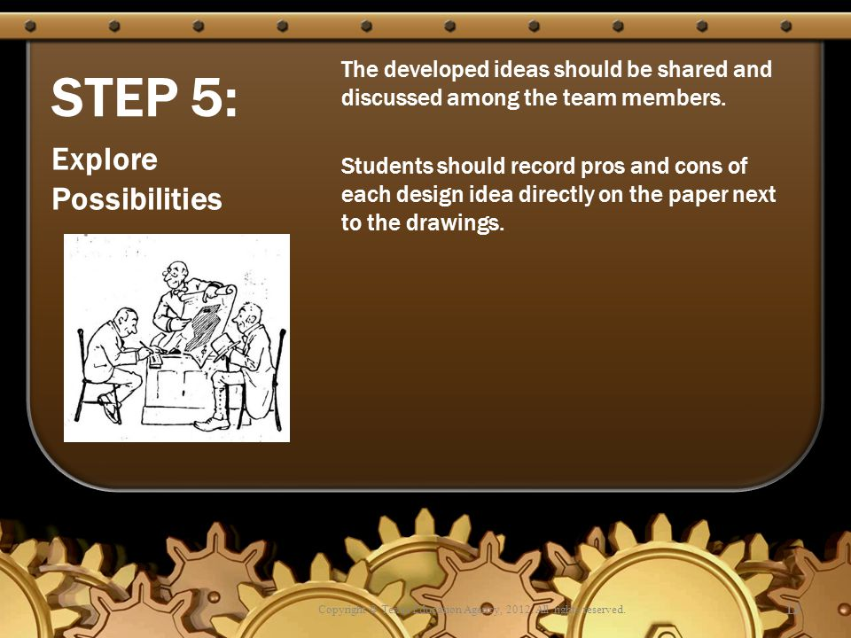 STEP 5: The developed ideas should be shared and discussed among the team members.