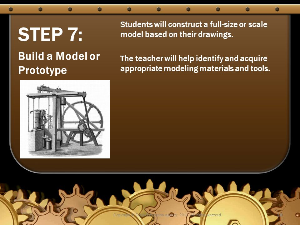 STEP 7: Students will construct a full-size or scale model based on their drawings. The teacher will help identify and acquire appropriate modeling ma