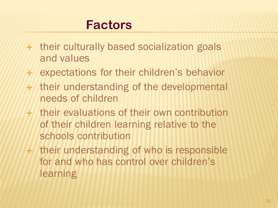  their culturally based socialization goals and values  expectations for their children's behavior  their understanding of the developmental needs