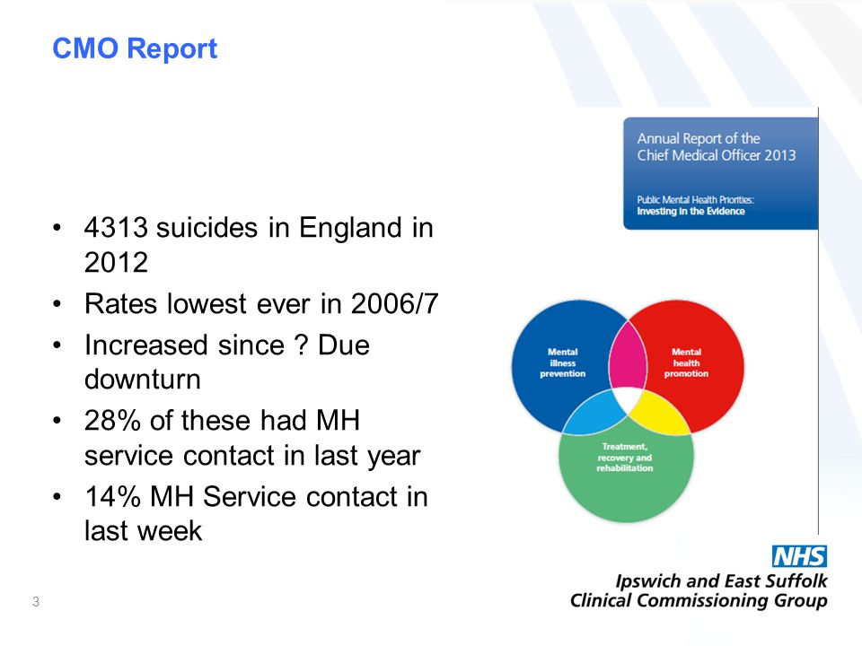 CMO Report 4313 suicides in England in 2012 Rates lowest ever in 2006/7 Increased since .