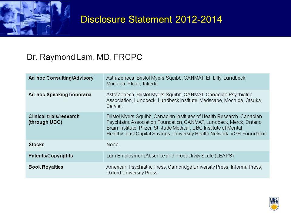 Disclosure Statement 2012-2014 Dr.