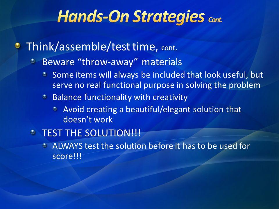 Think/assemble/test time, cont.