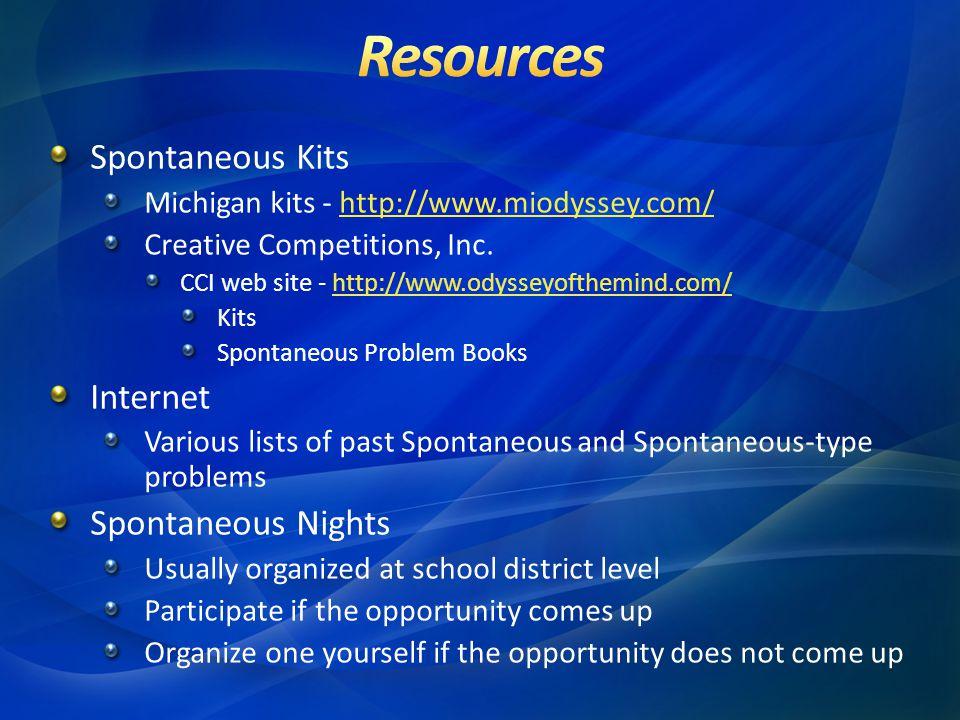 Spontaneous Kits Michigan kits - http://www.miodyssey.com/http://www.miodyssey.com/ Creative Competitions, Inc.
