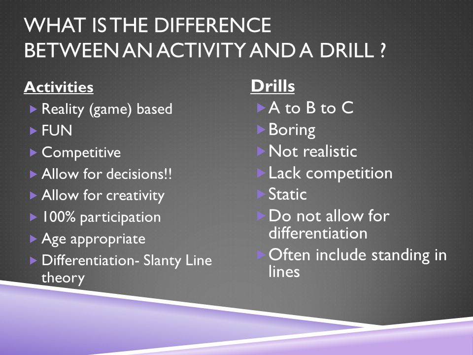 WHAT IS THE DIFFERENCE BETWEEN AN ACTIVITY AND A DRILL .