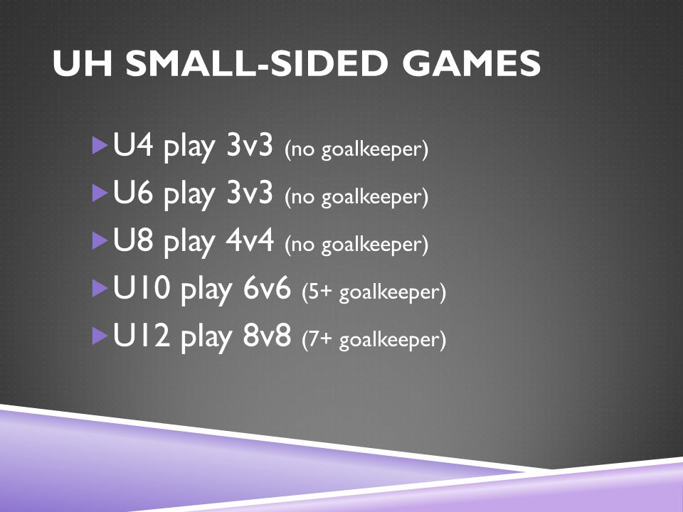 UH SMALL-SIDED GAMES  U4 play 3v3 (no goalkeeper)  U6 play 3v3 (no goalkeeper)  U8 play 4v4 (no goalkeeper)  U10 play 6v6 (5+ goalkeeper)  U12 play 8v8 (7+ goalkeeper)