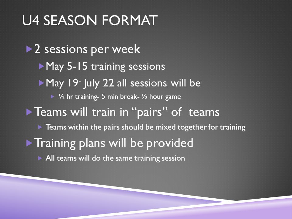 U4 SEASON FORMAT  2 sessions per week  May 5-15 training sessions  May 19 - July 22 all sessions will be  ½ hr training- 5 min break- ½ hour game  Teams will train in pairs of teams  Teams within the pairs should be mixed together for training  Training plans will be provided  All teams will do the same training session