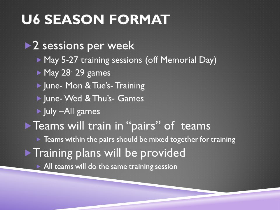 U6 SEASON FORMAT  2 sessions per week  May 5-27 training sessions (off Memorial Day)  May 28 - 29 games  June- Mon & Tue's- Training  June- Wed & Thu's- Games  July –All games  Teams will train in pairs of teams  Teams within the pairs should be mixed together for training  Training plans will be provided  All teams will do the same training session