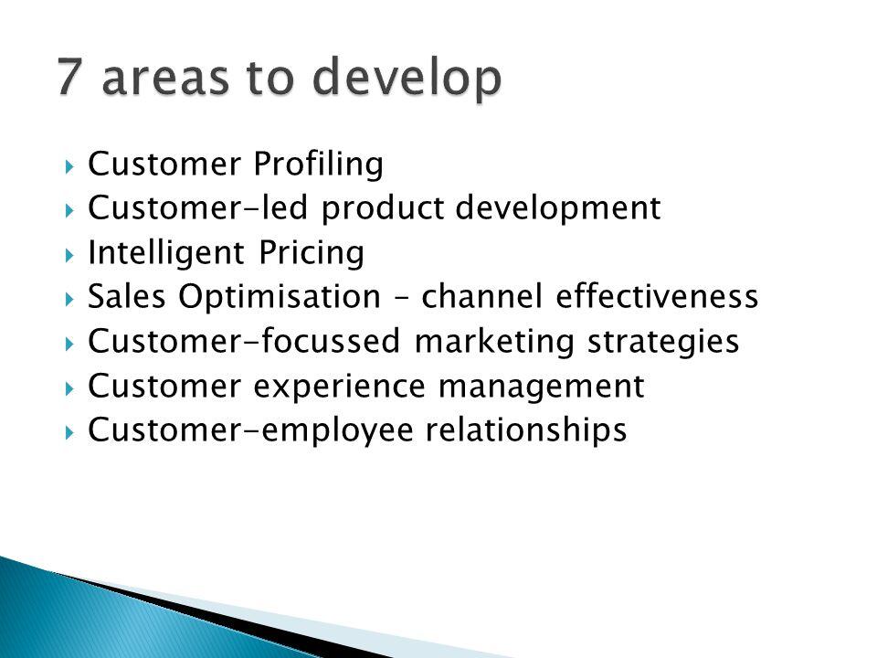  Customer Profiling  Customer-led product development  Intelligent Pricing  Sales Optimisation – channel effectiveness  Customer-focussed marketing strategies  Customer experience management  Customer-employee relationships