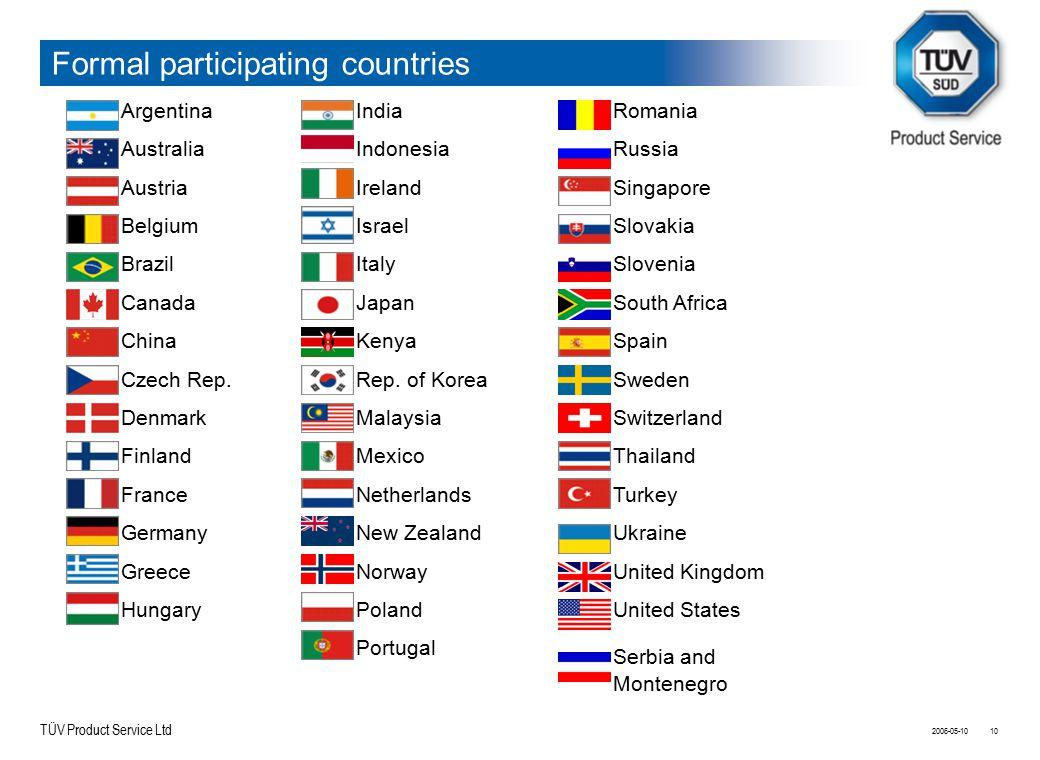 TÜV Product Service Ltd 2006-05-1010 Formal participating countries Argentina Australia Austria Belgium Brazil Canada China Czech Rep. Denmark Finland