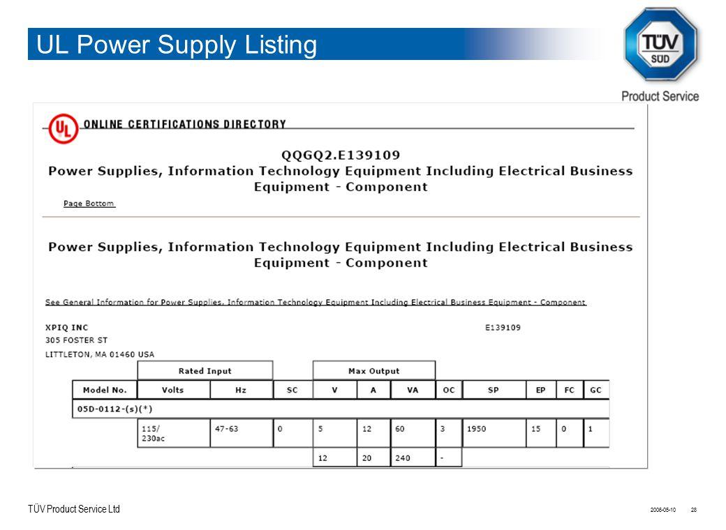 TÜV Product Service Ltd UL Power Supply Listing 2006-05-1028