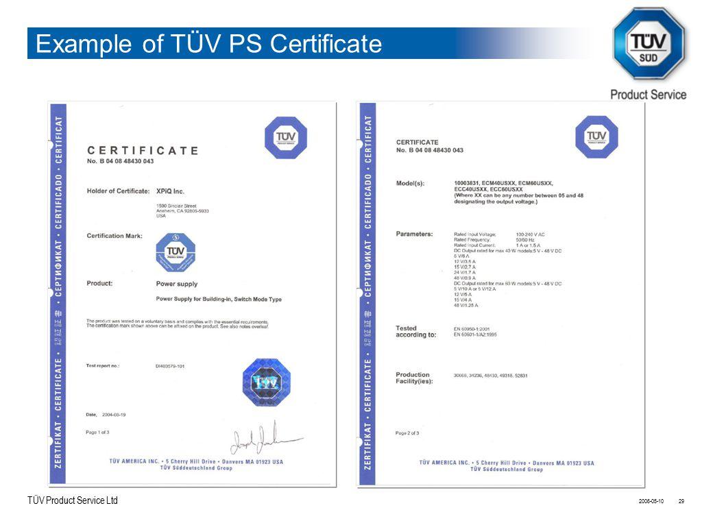 TÜV Product Service Ltd Example of TÜV PS Certificate 2006-05-1029