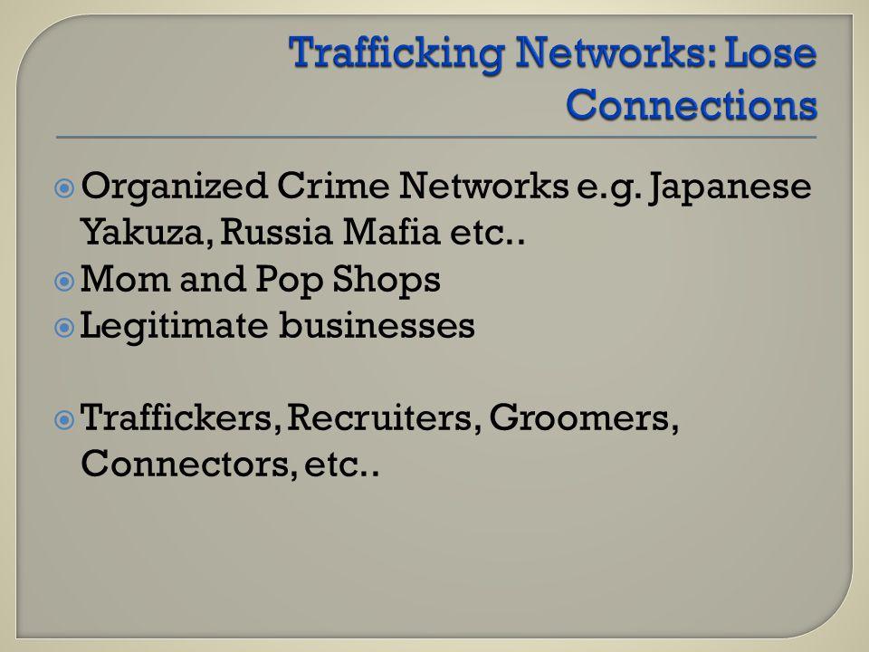  Organized Crime Networks e.g. Japanese Yakuza, Russia Mafia etc..  Mom and Pop Shops  Legitimate businesses  Traffickers, Recruiters, Groomers, C