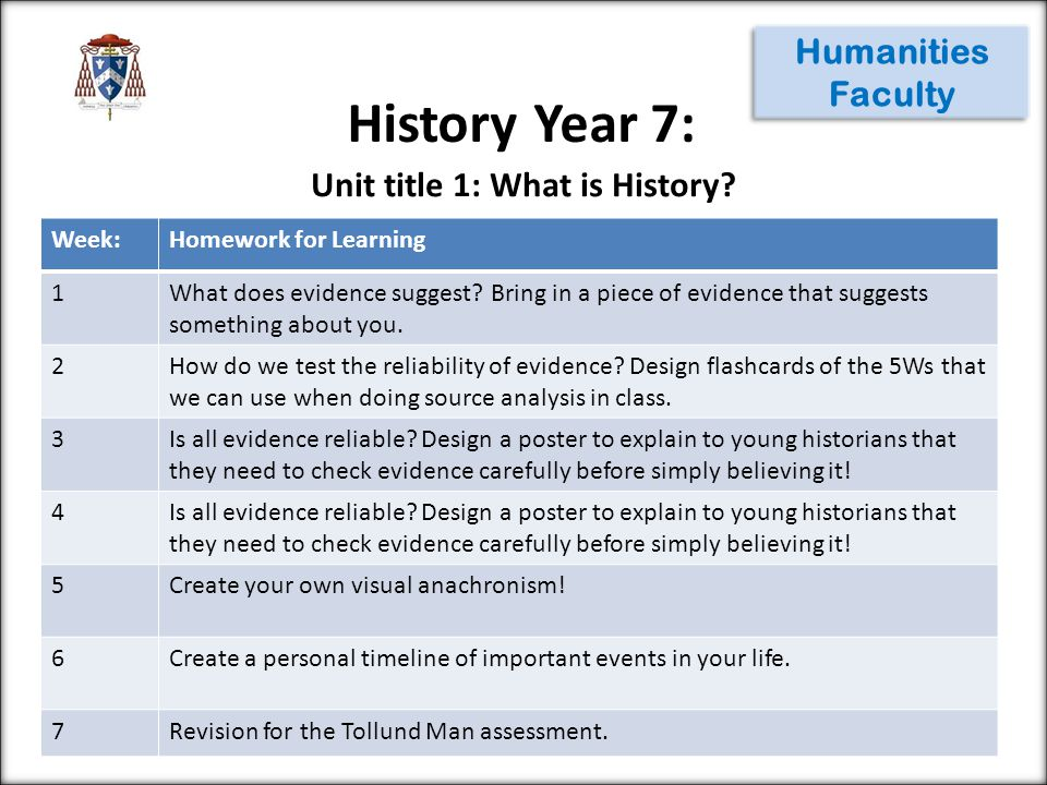History Year 7: Humanities Faculty Week:Homework for Learning 1What does evidence suggest? Bring in a piece of evidence that suggests something about
