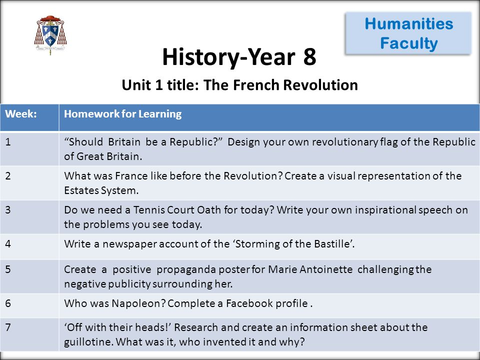 History-Year 8 Humanities Faculty Week:Homework for Learning 1 Should Britain be a Republic? Design your own revolutionary flag of the Republic of Great Britain.