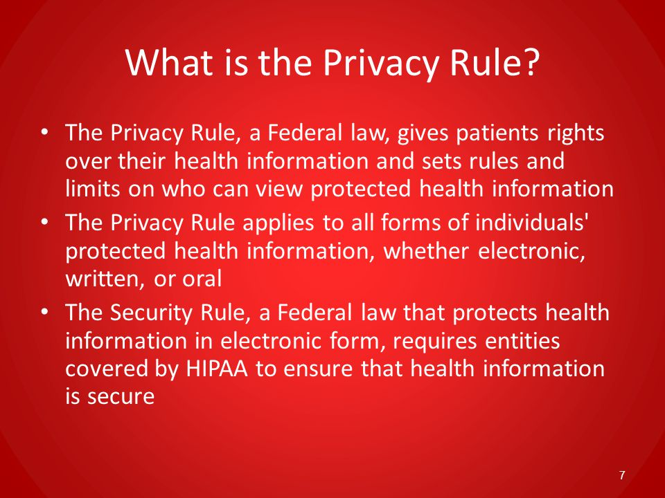 The Privacy Rule and Job Corps Under the Privacy Rule – – Job Corps' Health and Wellness Centers are considered covered entities – Job Corps is subject to imposed penalties if the rule is violated 8