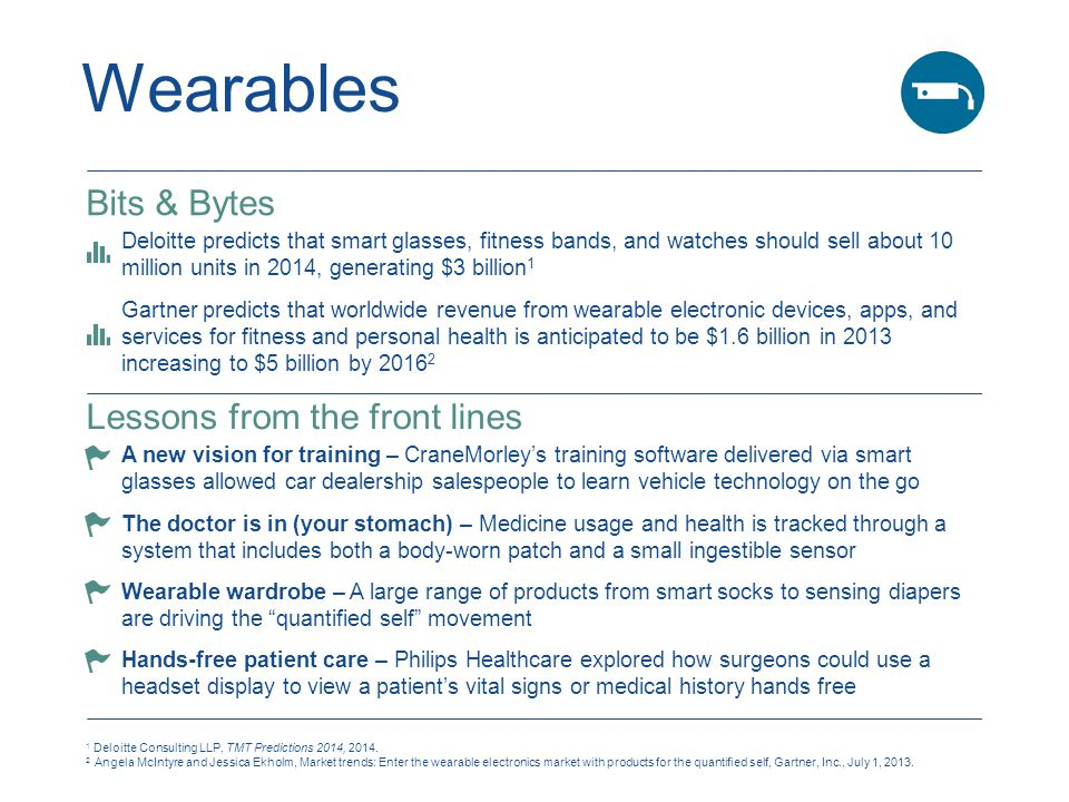 Wearables 1 Deloitte Consulting LLP, TMT Predictions 2014, 2014.