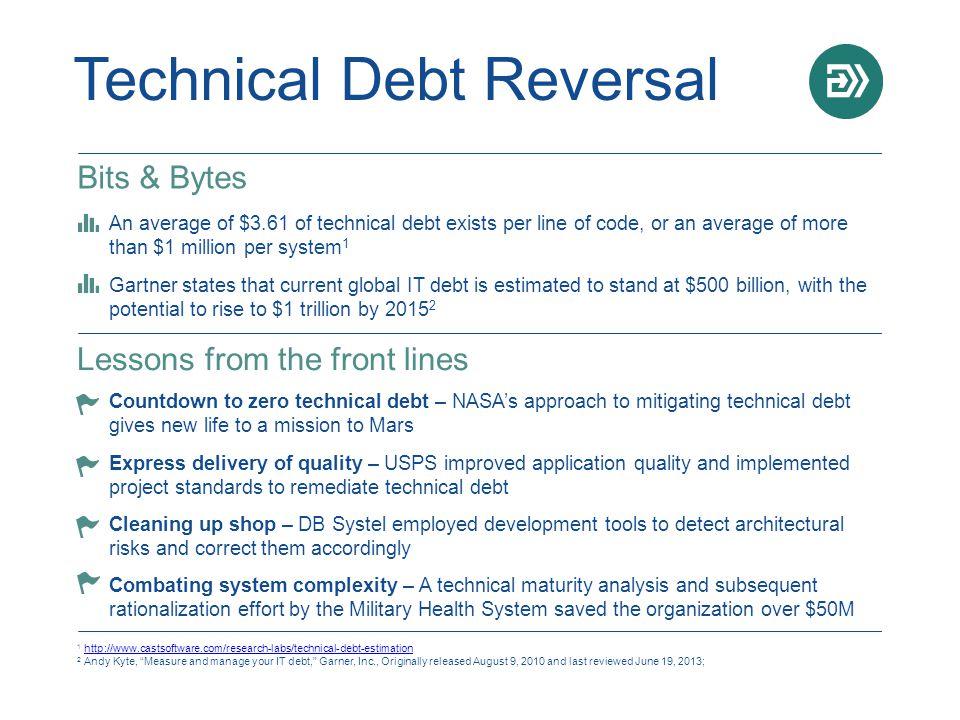 Technical Debt Reversal 1 http://www.castsoftware.com/research-labs/technical-debt-estimationhttp://www.castsoftware.com/research-labs/technical-debt-