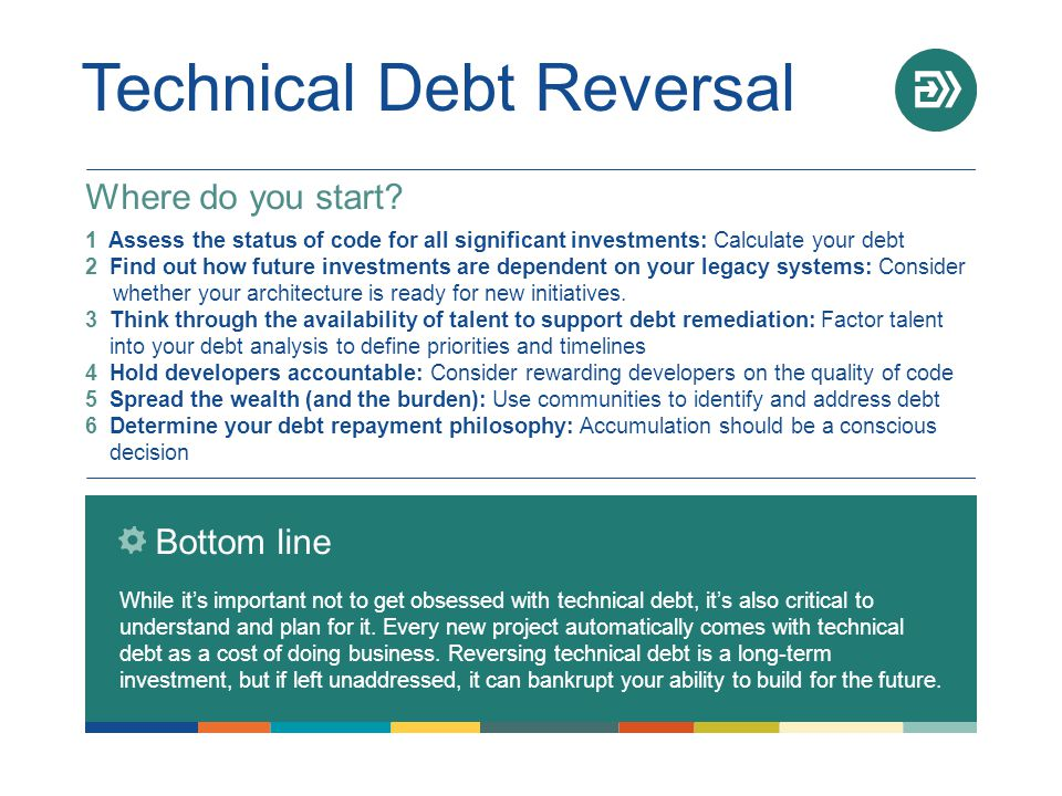 Technical Debt Reversal Bottom line While it's important not to get obsessed with technical debt, it's also critical to understand and plan for it. Ev