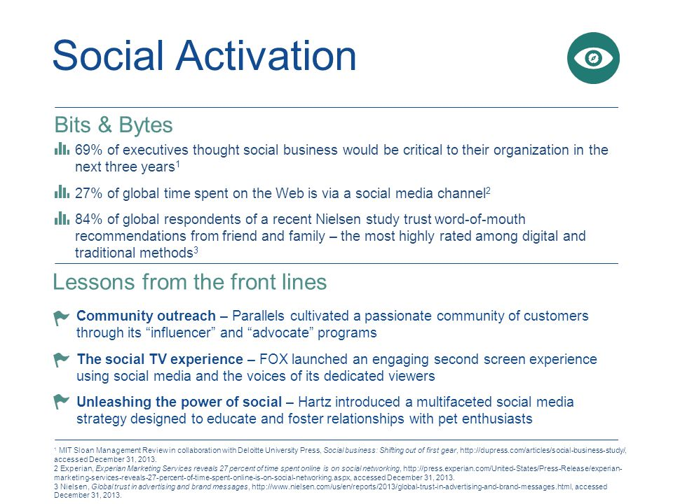 Social Activation Bits & Bytes 69% of executives thought social business would be critical to their organization in the next three years 1 27% of global time spent on the Web is via a social media channel 2 84% of global respondents of a recent Nielsen study trust word-of-mouth recommendations from friend and family – the most highly rated among digital and traditional methods 3 Lessons from the front lines Community outreach – Parallels cultivated a passionate community of customers through its influencer and advocate programs The social TV experience – FOX launched an engaging second screen experience using social media and the voices of its dedicated viewers Unleashing the power of social – Hartz introduced a multifaceted social media strategy designed to educate and foster relationships with pet enthusiasts 1 MIT Sloan Management Review in collaboration with Deloitte University Press, Social business: Shifting out of first gear, http://dupress.com/articles/social-business-study/, accessed December 31, 2013.