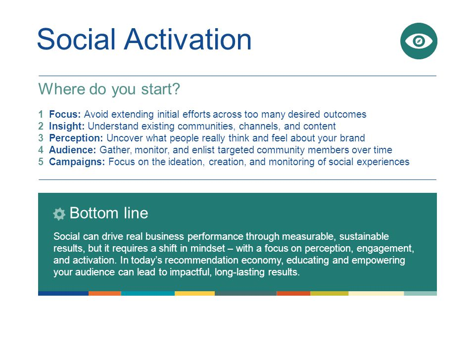 1 Focus: Avoid extending initial efforts across too many desired outcomes 2 Insight: Understand existing communities, channels, and content 3 Perception: Uncover what people really think and feel about your brand 4 Audience: Gather, monitor, and enlist targeted community members over time 5 Campaigns: Focus on the ideation, creation, and monitoring of social experiences Social Activation Bottom line Social can drive real business performance through measurable, sustainable results, but it requires a shift in mindset – with a focus on perception, engagement, and activation.