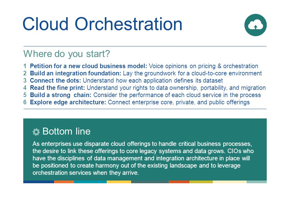 Cloud Orchestration Bottom line As enterprises use disparate cloud offerings to handle critical business processes, the desire to link these offerings