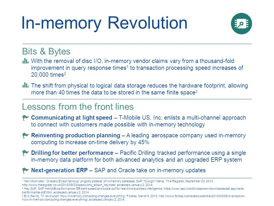 In-memory Revolution 1 Neil McAllister, Oracle s Ellison talks up ungodly speeds of in-memory database.