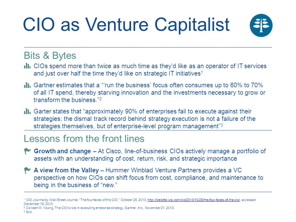 CIO as Venture Capitalist Bottom line There's a lot to learn from the portfolio mindset that VCs bring to their work: balancing investments in legacy systems, innovation, and even bleeding-edge technologies; understanding—and communicating—business value; and aligning talent with the business mission.