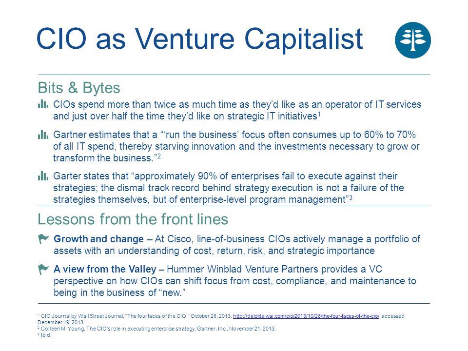 "CIO as Venture Capitalist 1 CIO Journal by Wall Street Journal, ""The four faces of the CIO,"" October 28, 2013, http://deloitte.wsj.com/cio/2013/10/28/"