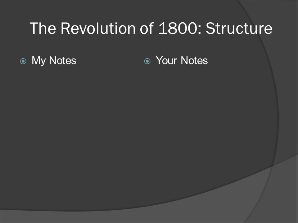The Revolution of 1800: Structure  My Notes  Your Notes