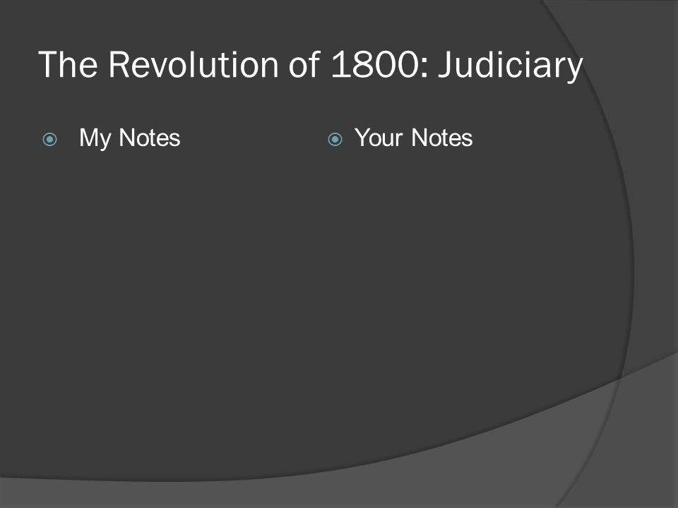 The Revolution of 1800: Judiciary  My Notes  Your Notes