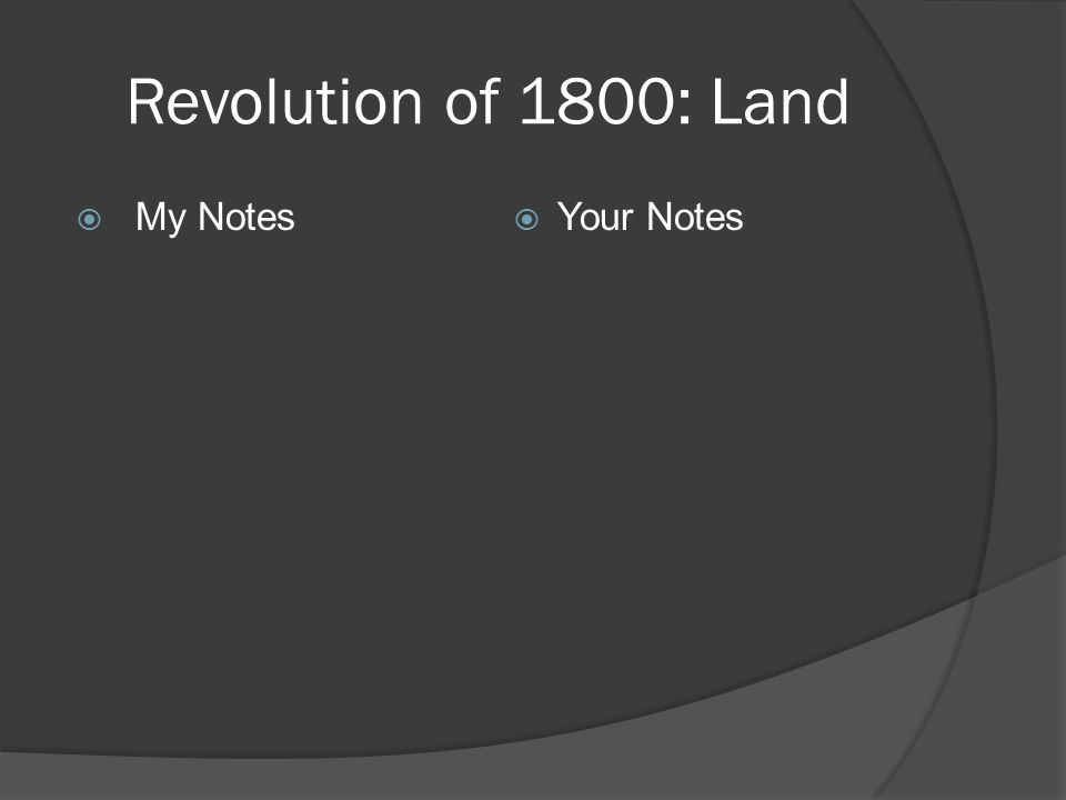 Revolution of 1800: Land  My Notes  Your Notes
