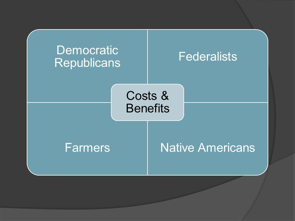 Democratic Republicans Federalists FarmersNative Americans Costs & Benefits