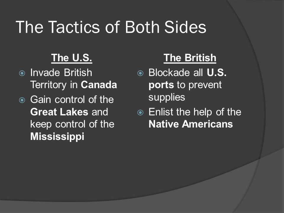 The Tactics of Both Sides The U.S.  Invade British Territory in Canada  Gain control of the Great Lakes and keep control of the Mississippi The Brit