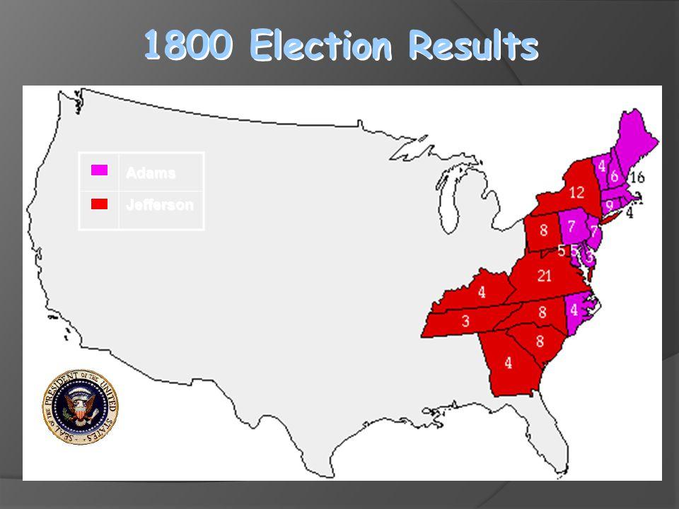1800 Election Results AdamsJefferson